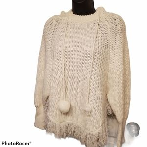 QED London Hooded Poncho Cream Sweater